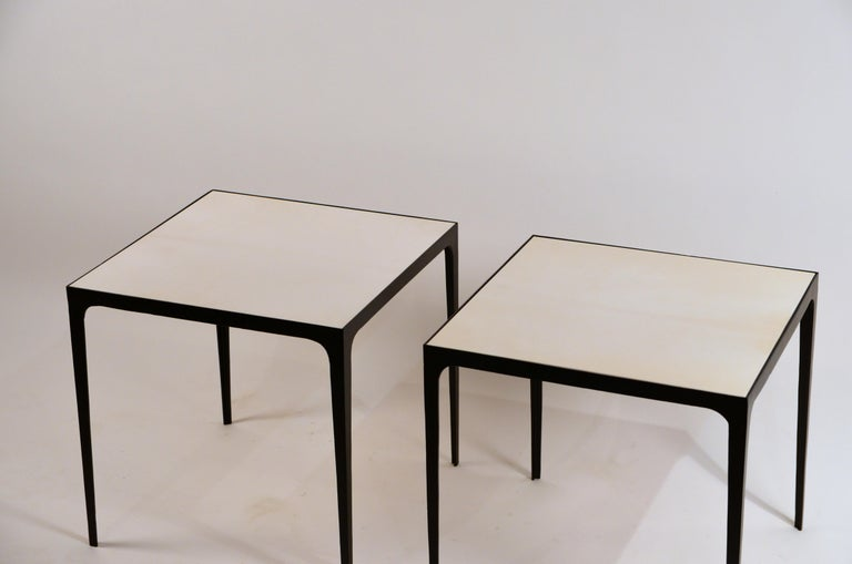 Powder-Coated Pair of large 'Esquisse' Wrought Iron and Parchment Side Tables by Design Frères For Sale