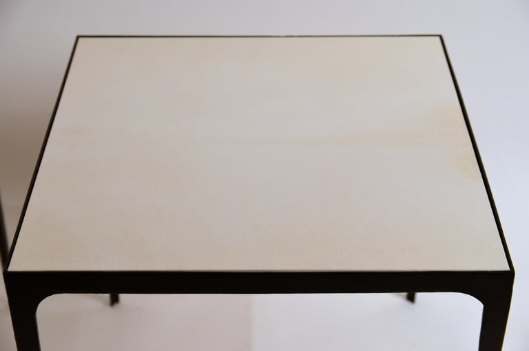 Pair of large 'Esquisse' Wrought Iron and Parchment Side Tables by Design Frères In New Condition For Sale In Los Angeles, CA