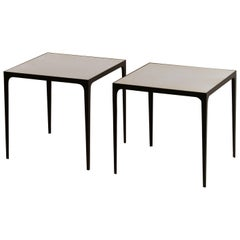 Pair of large 'Esquisse' Wrought Iron and Parchment Side Tables by Design Frères