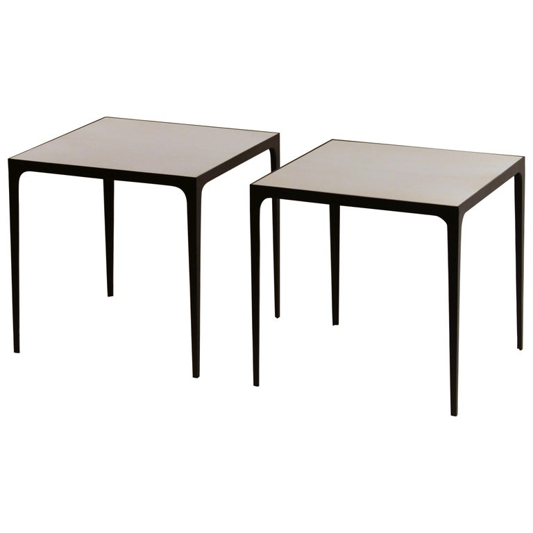 Pair of large 'Esquisse' Wrought Iron and Parchment Side Tables by Design Frères For Sale