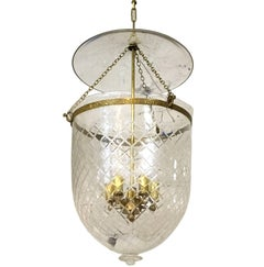 Pair of Large Etched Glass Lanterns