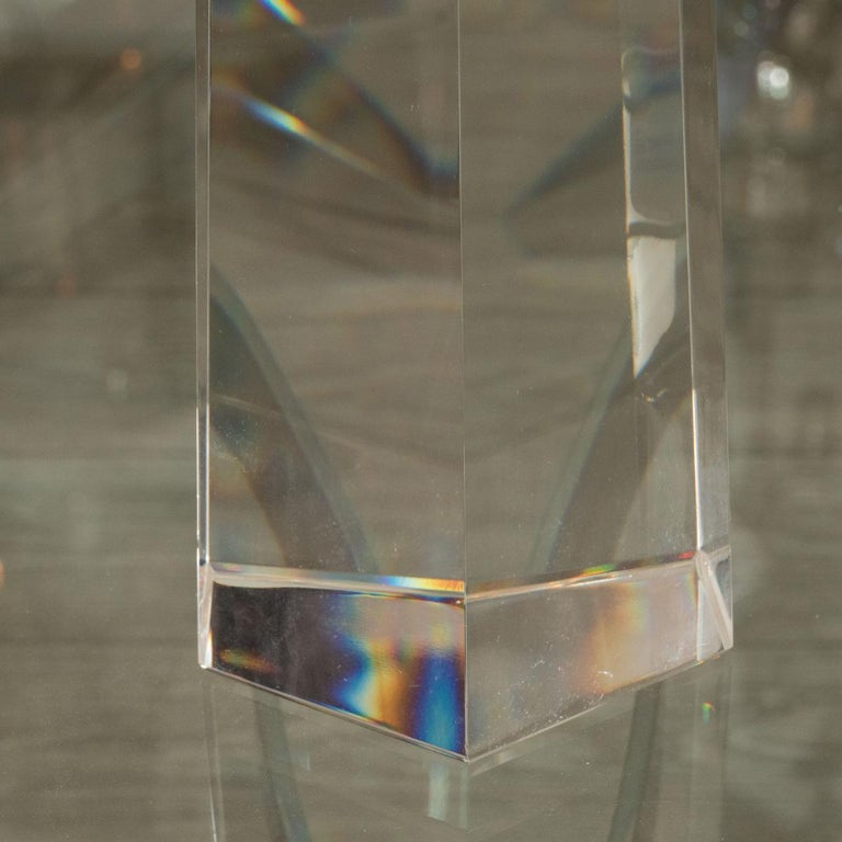 Modern Pair of Large Faceted Clear Murano Obelisks For Sale