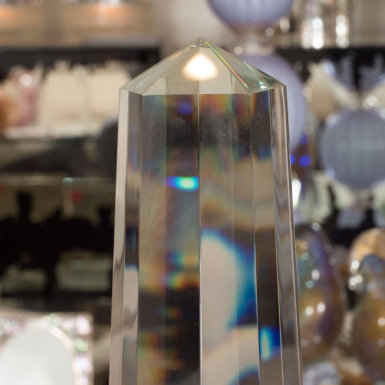 Italian Pair of Large Faceted Clear Murano Obelisks For Sale