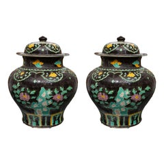 Pair of Large Fahua Pottery Covered Jars