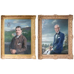 Pair of Large Family Portraits Set in Gilt Frames