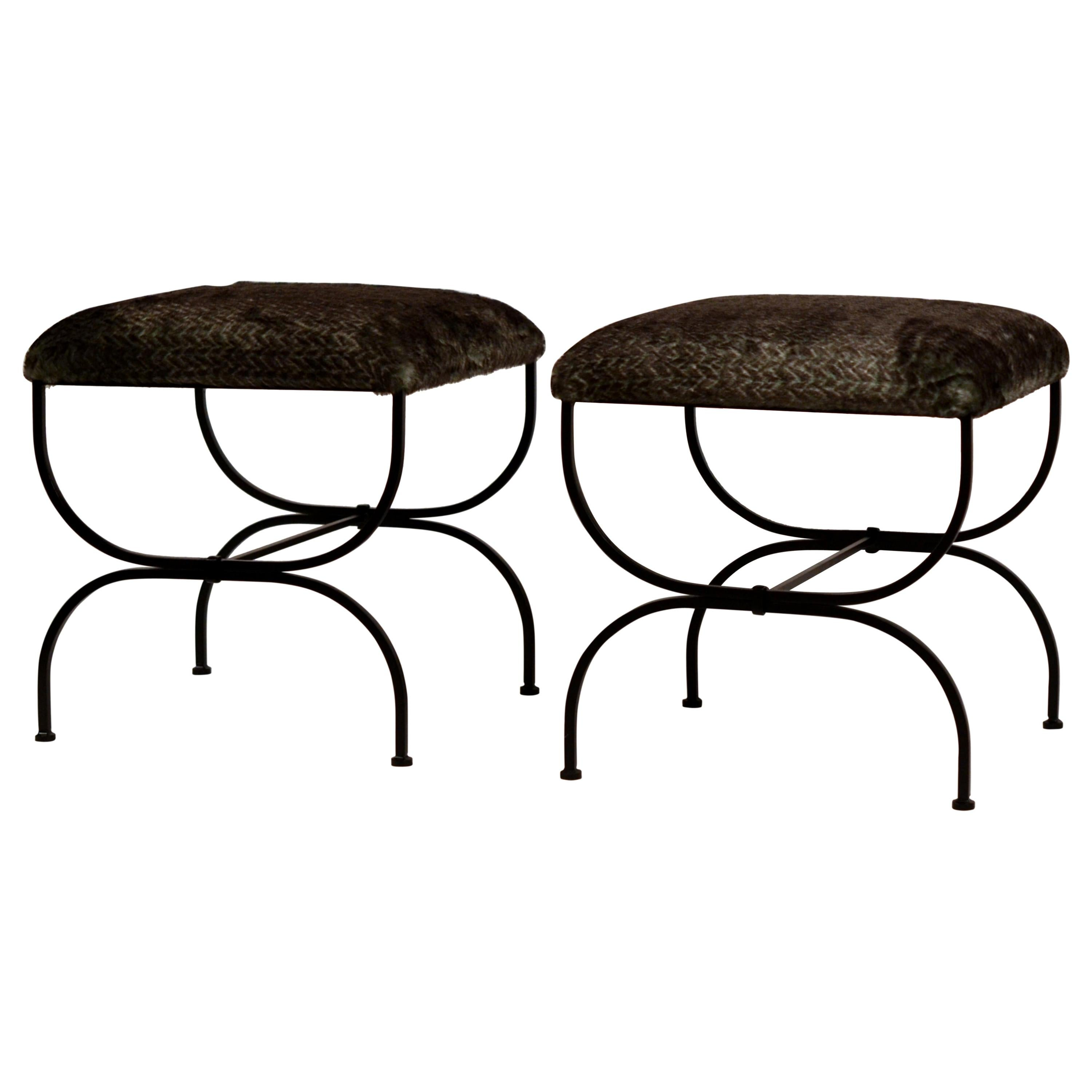 Pair of Large Faux Fur 'Strapontin' Stools by Design Frères