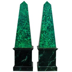 Pair of Large Faux Malachite Obelisks
