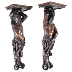 Pair of Large Figural Wall Consoles, Austria, circa 1870