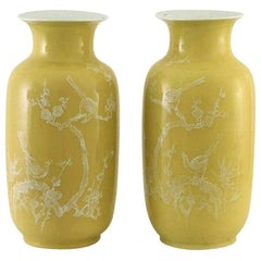 Pair of Large Fine Chinese Yellow-Ground Decorated Vases, 19th Century, Marked