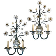 Pair of Large Floral Motif Molded Glass Sconces