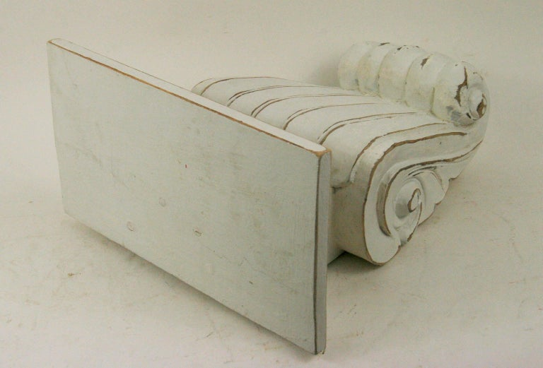 Pair of Large Fluted Wall Shelves In Good Condition For Sale In Douglas Manor, NY