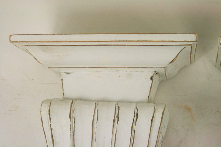 Mid-20th Century Pair of Large Fluted Wall Shelves For Sale