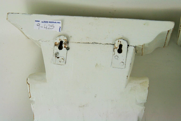 Pair of Large Fluted Wall Shelves For Sale 1