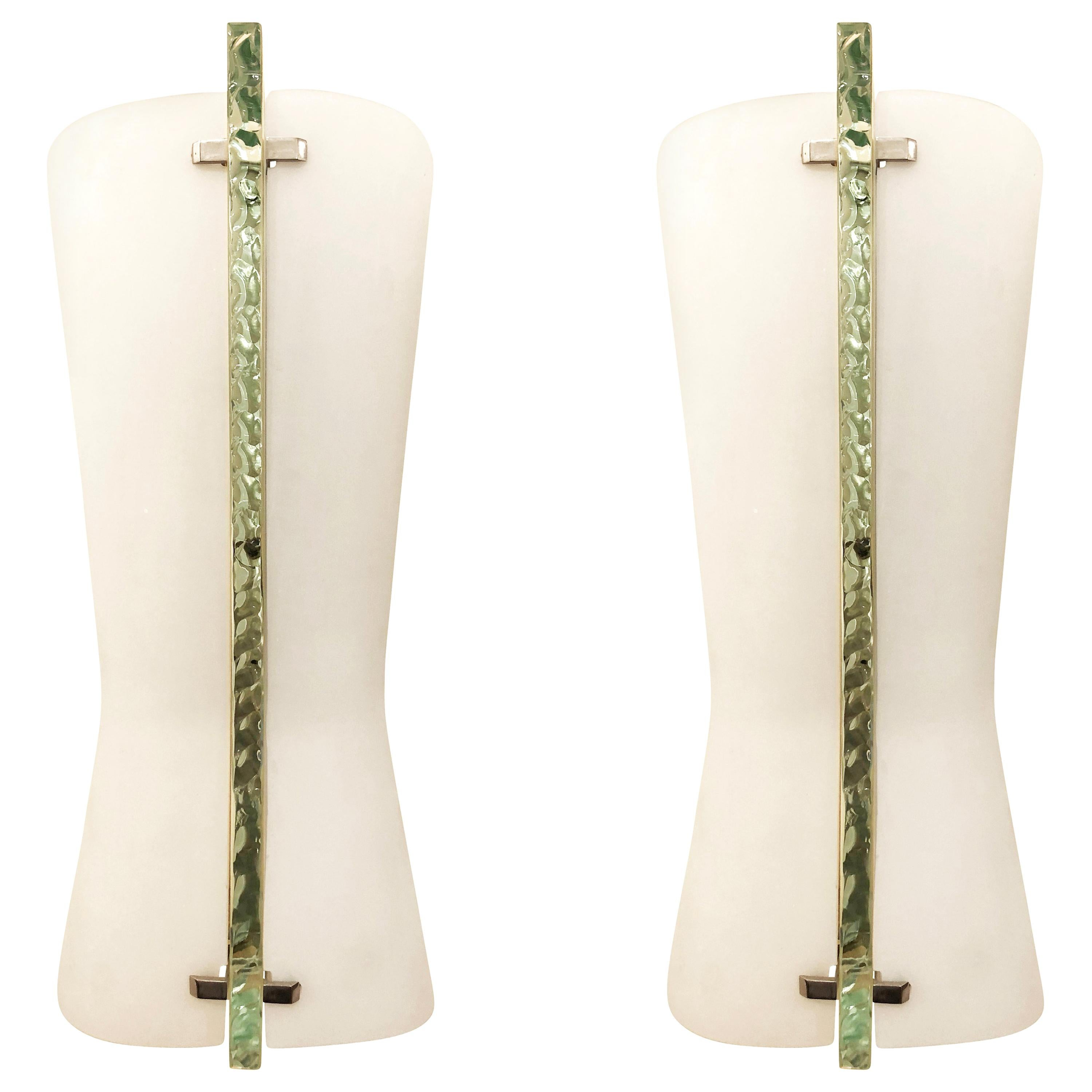 Pair of Large Fontana Arte Sconces by Max Ingrand