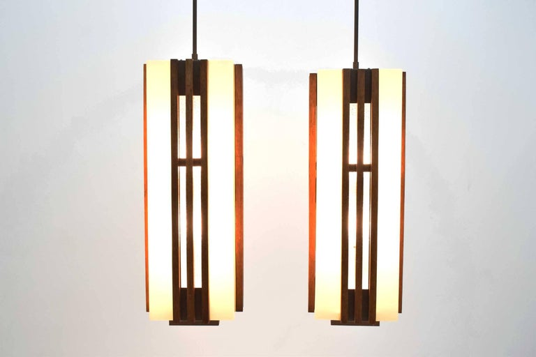 Mid-Century Modern Pair of Large Frank Lloyd Wright Style Chandeliers/Pendants For Sale