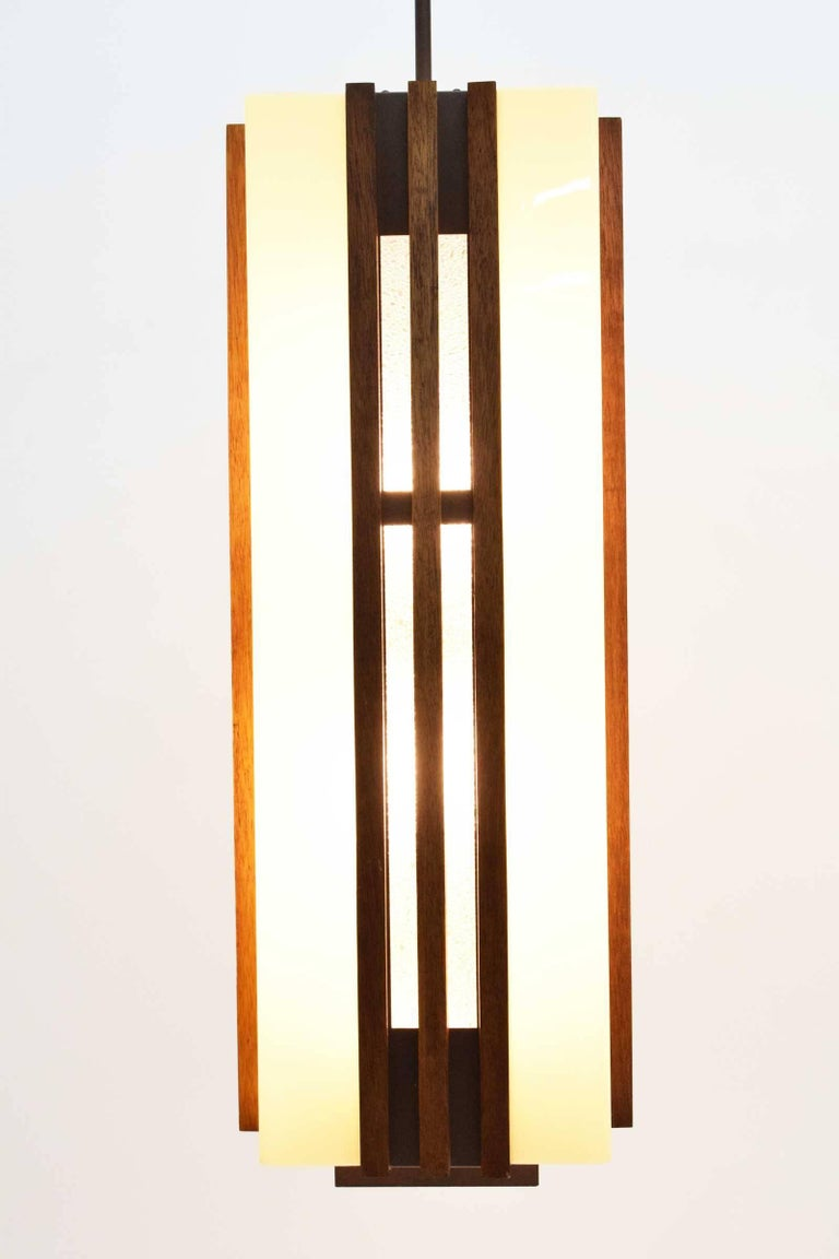 Pair of Large Frank Lloyd Wright Style Chandeliers/Pendants In Excellent Condition For Sale In Dallas, TX