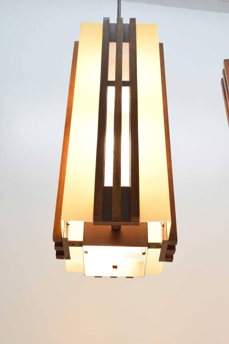 20th Century Pair of Large Frank Lloyd Wright Style Chandeliers/Pendants For Sale