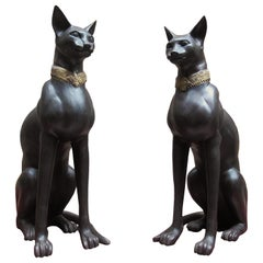 Pair of Large French, 20th Century Bronze Cats