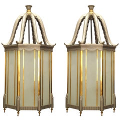 Pair of French Art Deco Brass and Glass Hanging Lanterns