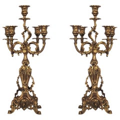 Pair of French Louis XVI Style Bronze Five Branch Candleholders, Candelabra
