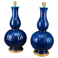 Pair of Large French Blue Mid-20th Century Double Gourd Table Lamps