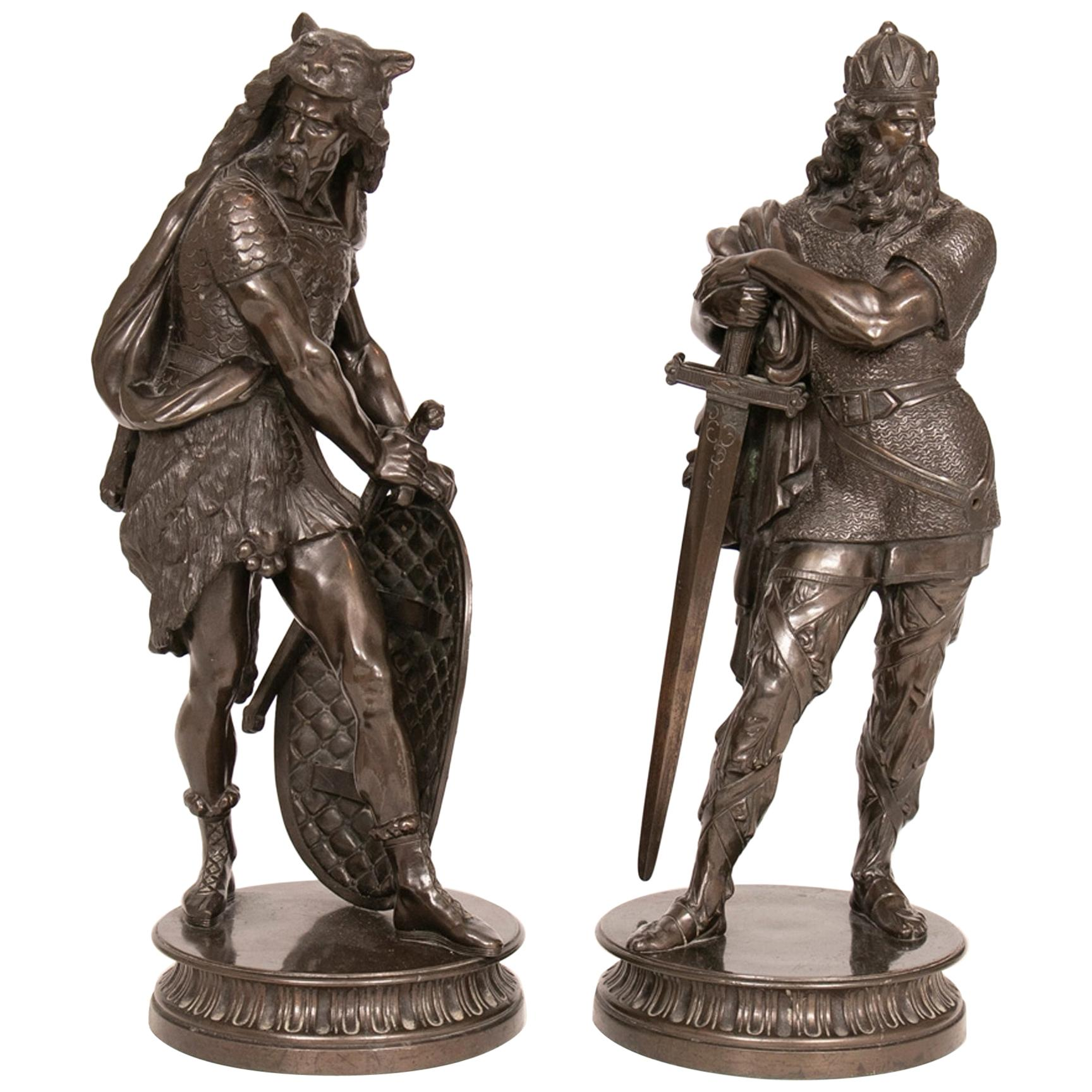 Pair of Large French Bronze Statues, circa 1890