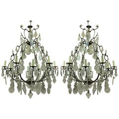 Pair of Large French Cage Chandeliers