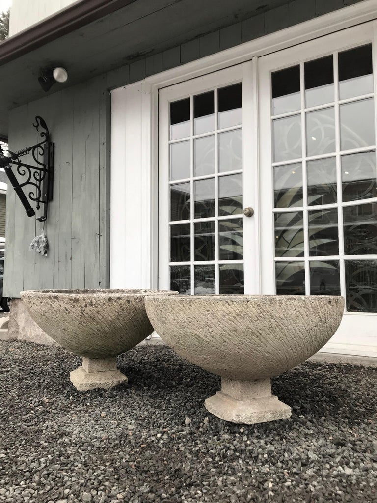 It's rare that we find a set of 4 matching large bowl planters with integral feet, and these are simply stunning. However, due to their size, we have decided to split the set and make them available by the pair. Each has a large and deep planting