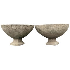 Pair of Large French Cast Stone Bowl Planters on Integral Feet #2