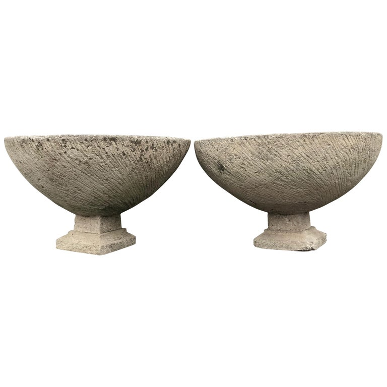 Pair of Large French Cast Stone Bowl Planters on Integral Feet #2 For Sale