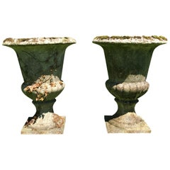 Pair of Large French Cast Stone Campana Urns