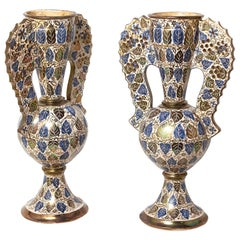 Pair of Large French Ceramic Art Nouveau Vases Hand Painted