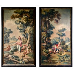 Pair of French Chateau Paintings of Children in a Garden Setting, 19th Century