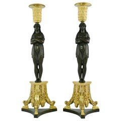 Pair of Large French Empire Candlesticks Made Around Year 1800