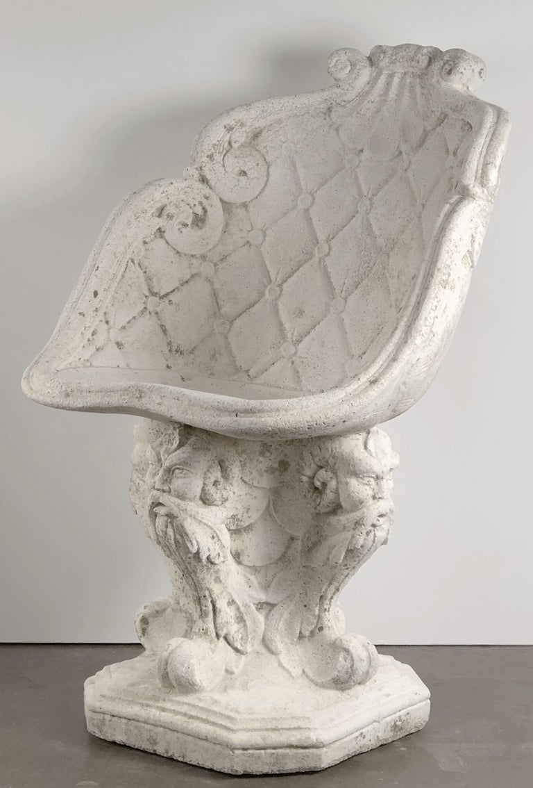 Pair of Large French Garden Stone Chairs - Individually Priced For Sale 7
