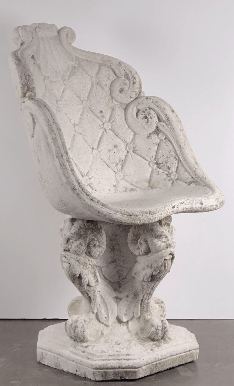 Pair of Large French Garden Stone Chairs - Individually Priced For Sale 9