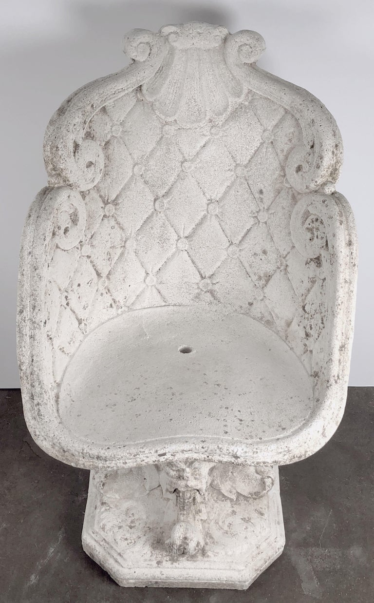 Pair of Large French Garden Stone Chairs - Individually Priced For Sale 10