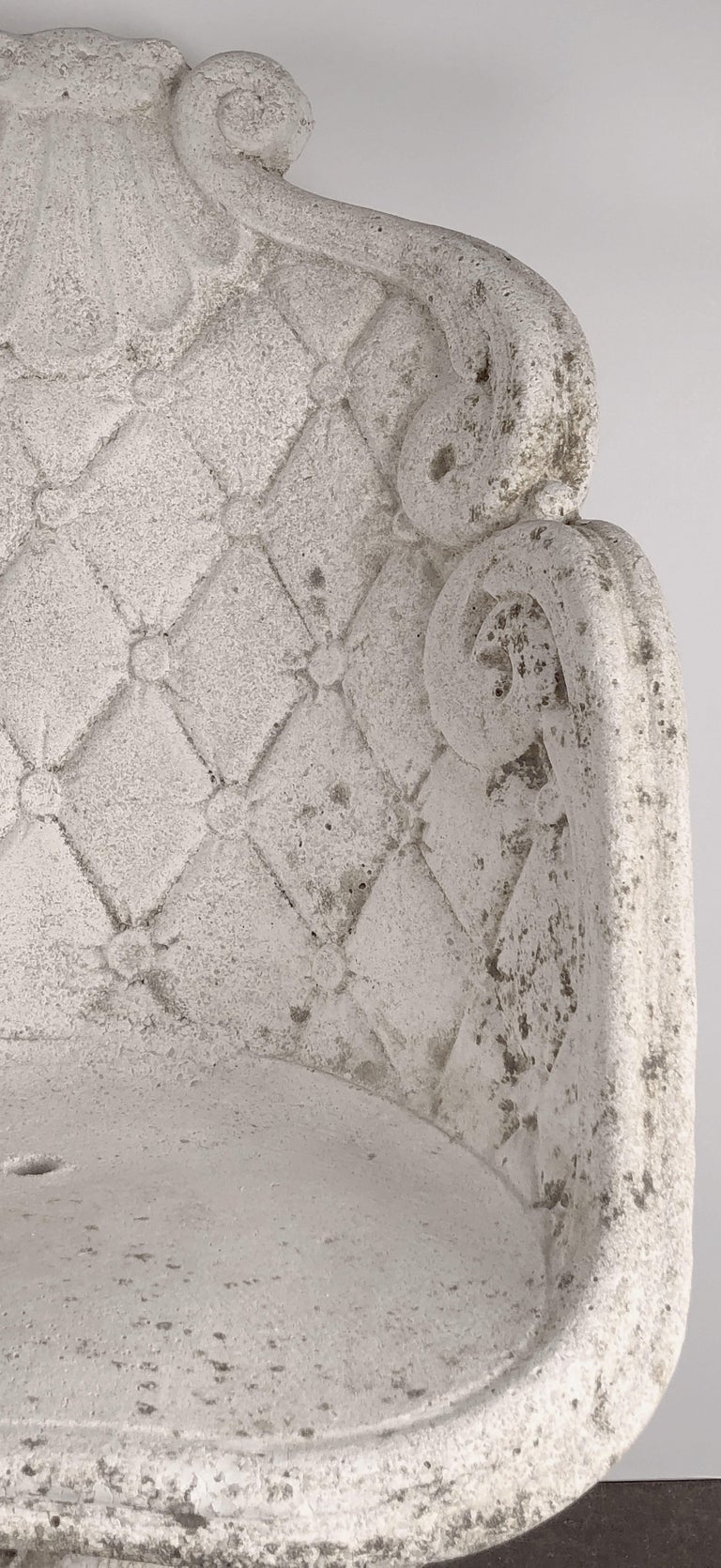 Pair of Large French Garden Stone Chairs - Individually Priced For Sale 13