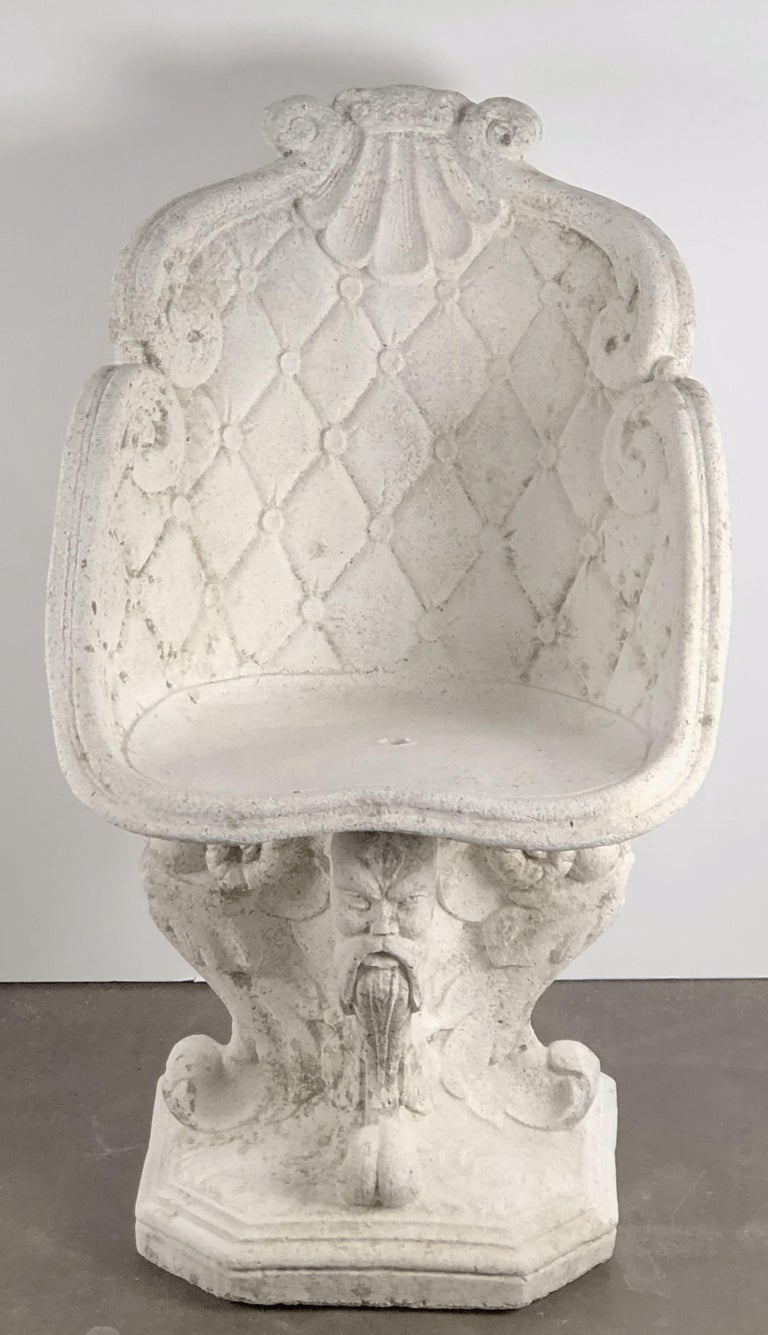 19th Century Pair of Large French Garden Stone Chairs - Individually Priced For Sale