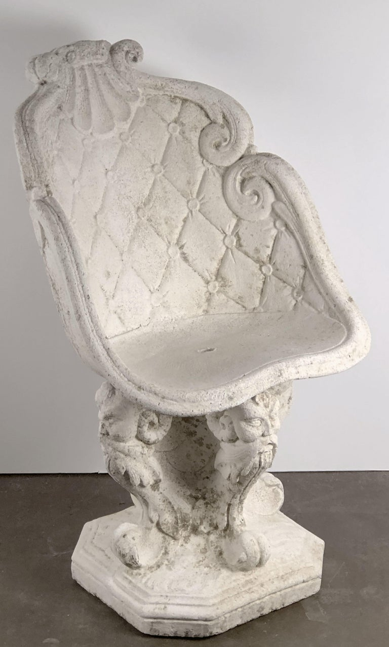 Cast Stone Pair of Large French Garden Stone Chairs - Individually Priced For Sale