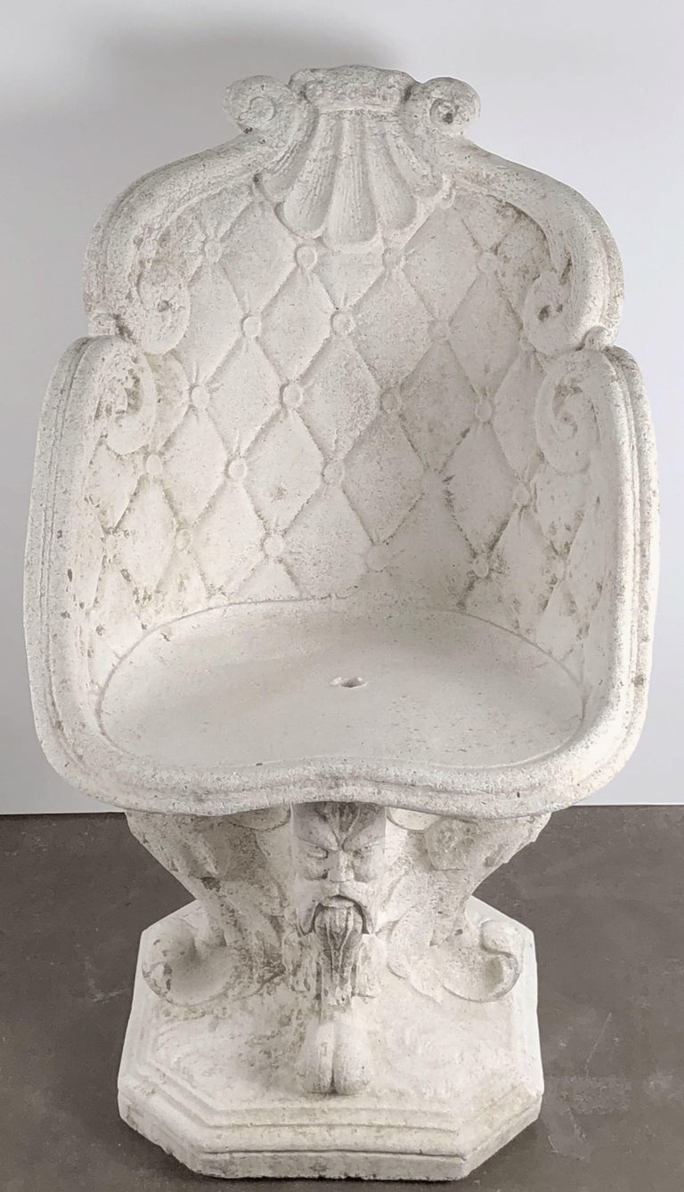 Pair of Large French Garden Stone Chairs - Individually Priced For Sale 1