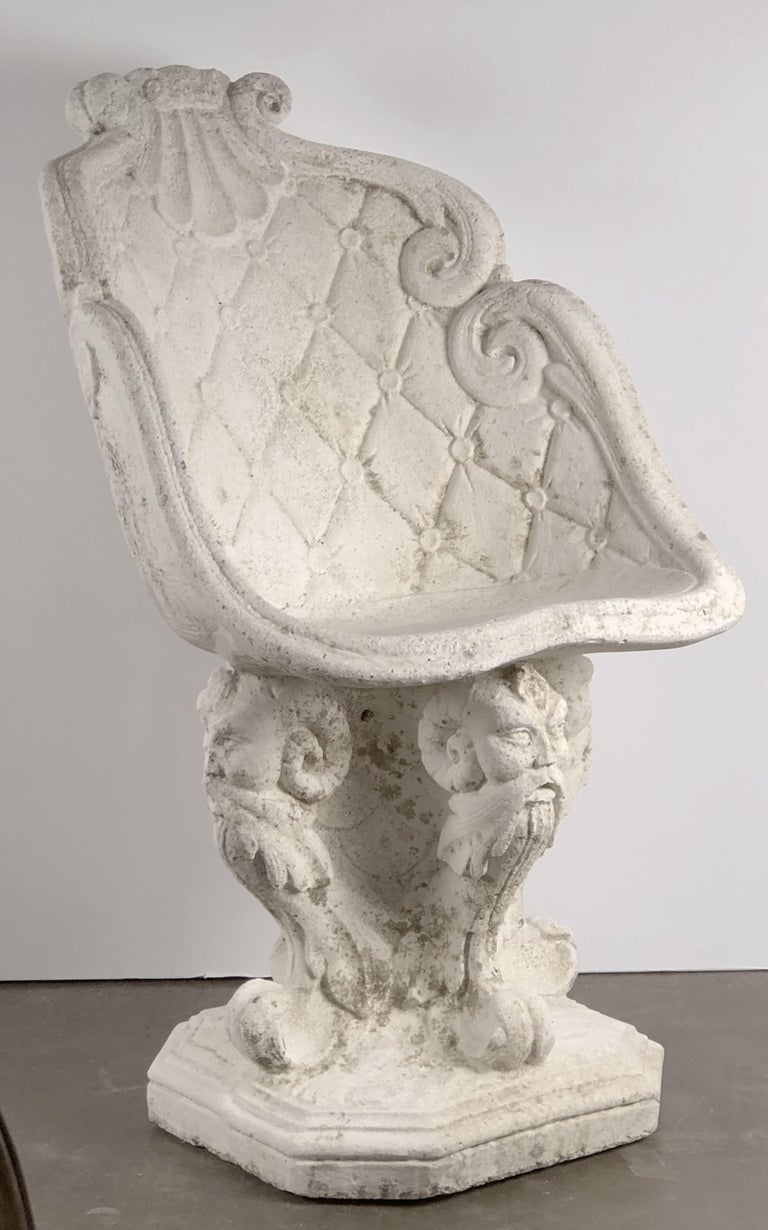 Pair of Large French Garden Stone Chairs - Individually Priced For Sale 2