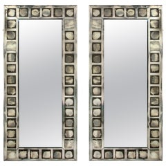 Pair of Large French Geometric Rectangular Mirrors