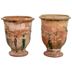 Pair of Large French Glazed Terracotta Urns