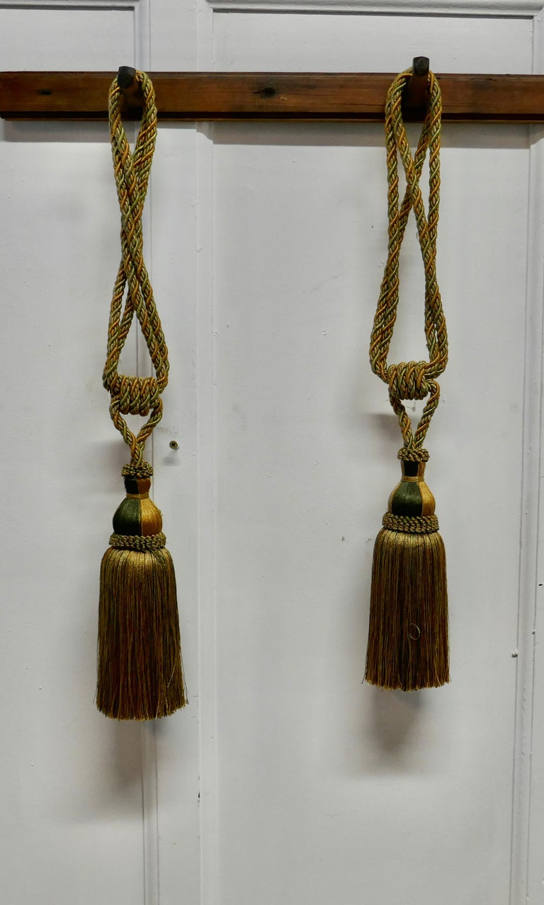 French Provincial Pair of Large French Gold Silk Handmade Tassels, Passementerie Curtain Tiebacks For Sale