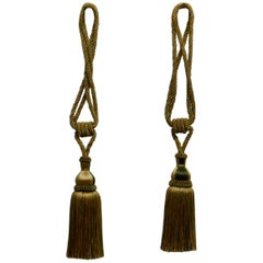 Pair of Large French Gold Silk Handmade Tassels, Passementerie Curtain Tiebacks