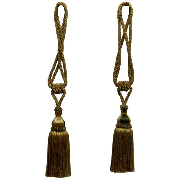 Pair of Large French Gold Silk Handmade Tassels, Passementerie Curtain Tiebacks For Sale