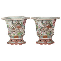 Pair of Large French Hexagonal Cachepots, circa 1880