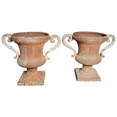 Pair of 19th Century Large French Iron Urns