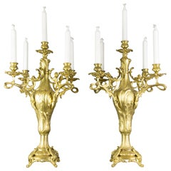 Pair of Large French Louis XV Style Bronze Five-Light Candelabras